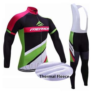2020 NEW MERIDA Art und Weise Winter-thermische Vlies Radfahren Langarmtrikot Cycling Racing MTB Maillot Bike Bib lange Hosen-freies Verschiffen Set