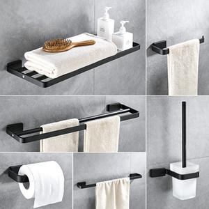 Aluminium Salle de bains Accessoires Équerre Noir Porte-papier Porte-serviettes Porte-savon serviette Bar Bath Hardware Set Livraison gratuite
