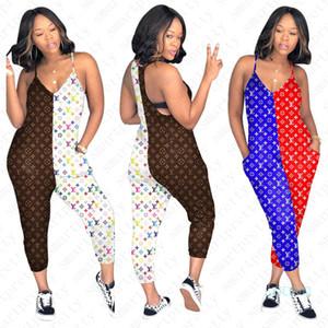 Calças moda Harem para as Mulheres Strap Verão Macacão Romper Pants design de impressão completos Contraste Cor Sportswear Treino Roupa D51108