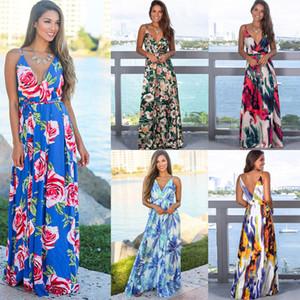 Женская Boho цветочных платья 15 цветов Bohemian пляж платье Lady Printed Ladies Backless V-образный вырез цветок длинного платье S-2XL 060331
