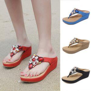 2019 Shoes Bohemia Slipper Slippers Summer Women Ladies Pearl Wedges Sandals Beach Flops Flip Slipper Shoes G3