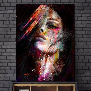 Modern Abstract Art Woman Canvas Painting Posters Wall Art Pictures Painting Wall Art for Living Room Home Decor (No Frame)