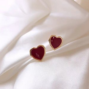 520 love you ten thousand times romantic red heart peach temperament retro high quality 925 silver needle lady earrings