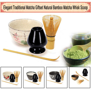 4pcs / set traditionnel Matcha Giftset en bambou naturel Matcha Fouet Scoop Ceremic Matcha Bowl Fouet Holder Sets de style thé japonais