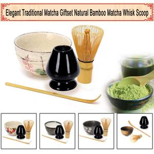 4pcs / set Holder tradizionale Matcha Giftset di bambù naturale Matcha Frusta Scoop Ceremic Matcha ciotola sbatti insiemi di stile giapponese di tè