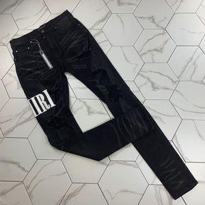 Tide Marke Plissee Loch dünne Füße leicht elastisch Herren Hosen Stretch dünne Jeans-Designer Modemarke Hose