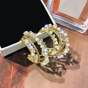 925 Silver Needle Multi-layer Simulated Pearl Crystal Hoop Earrings For Women 2020 New Trendy Statement Earrings Jewelry