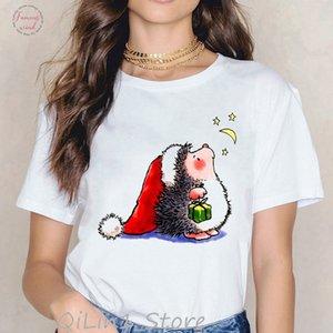 Harajuku Kawaii Hedgehogs Animal Print Tee Shirt Polyester Femme 90S Birthday Christmas Gift Summer Top Cute T Shirt Women Tumblr Clothes