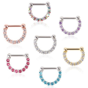 30pcs New Rhinestone Crystal Nose Hoops Unisex Surgical Steel CZ Septum Clicker Nose Ring Piercing Body Jewelry