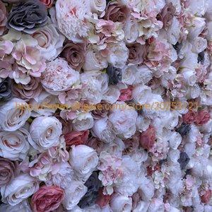 3D artificiale parete del fiore pannelli Wedding Background E Grigio Rosa Watermelon Red Rose falsificazione fiore Runner GY808