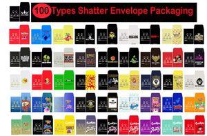 100 Tipos Shatter envelope de papel de embalagem Strain Assorted Magro Shatter Packs Wax Concentrado embalagem de cartão SD Packs personalizados Coin