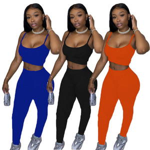 Frauen Designer Trainingsanzug Sleeveless Outfits 2 Stück Set Sportanzug Sportswear Hosenanzug Neue Heiße Verkauf Frauen Kleidung Tops + Legging KLW4392