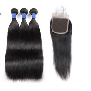 Silky droite péruvienne cheveux humains Trame Meilleur 10A Brésil Human Bundles cheveux avec fermeture 3Bundles avec dentelle fermeture Indian Hair Extensions