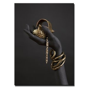 Mano de la mujer de negro con joyas de oro pinturas de arte de la pared de lona en los carteles de pared y Grabados Pop Art Prints decoración de la pared