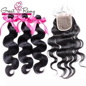"Unprocessed Malaysian Human Hair Bundles with Closure Body Wave 3pcs Hair Weave Wefts+1pc Lace Closure 4""x4"" Full Head 4pcs lot Gr"