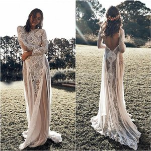 Vintage Lace Backless Boho Beach Wedding Dresses Long Sleeve Nude Lining Country Bohemian Wedding Gowns Hippie Gypsy Bride Wed Dress Wed