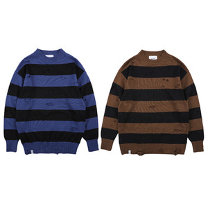 Mens Maglione Color Matching foro allentato Moda Spessa Stripes Pullover manica lunga casual invernale Atutumn S-XL