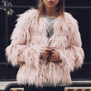 Faroonee fausse fourrure femmes élégant manteau à manches longues Fluffy manteau chaud vêtement femme hiver fourrure veste Fluffy Poilu Pardessus