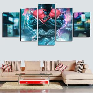 5 pannelli di Street Fighter pittura moderna Opere giclée tela di canapa di arte della parete per la casa della decorazione della parete astratta poster Tela stampa pittura a olio