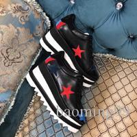 2019 Newest Corder Stella Women Star Platform Shoes Top Quality Calfskin Genuine Leather 7cm Wedge Oxfords Elyse Sneakers With Box size 40