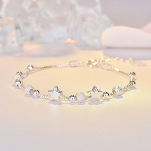 s925 sterling silver bracelet Japanese and Korean glossy little star bracelet fashion jewelry temperament pentagram jewelry