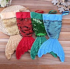 Mermaid Christmas Stocking Gift Wrap Bling Bling Bead Flip Tail Socks Party gift bags Christmas Decorations Home Decorative Objects CLS177