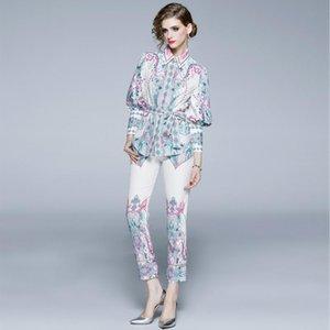 2020 Yeni Ürün Dış Ticaret Kadın Moda Yaka Fener Kol Üst + Düz Pantolon Kapak Boyut M-2XL yazdır