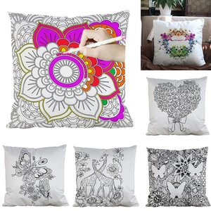 39 Styles DIY Painting Square Home Pillow Case Diy Flowers Cushion Cover Home Decorative Coloring Empty Pillowcase M1335