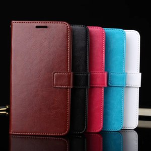 Premium PU Leather Cell Phone Flip Cases Retro Vintage Folio Wallets Kickstands with Card Slots Back Cover 360 Degree Full Protective Holder