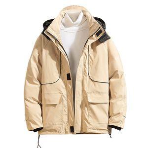 SAGACE Fashion Mens Winter Warm Loose Jacket Plus Size Big Pocket Thicken Cotton-Padded Parka Male Hooded Windbreaker Army Coat