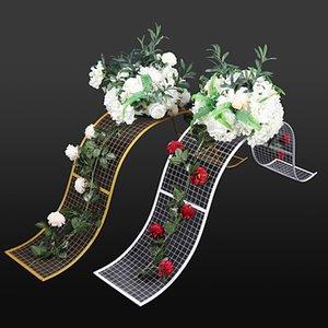 Accessoires de mariage en fer forgé grille décorative en forme de S Wave Road Lead cadre de fond géométrique partie T Set Layout décoration