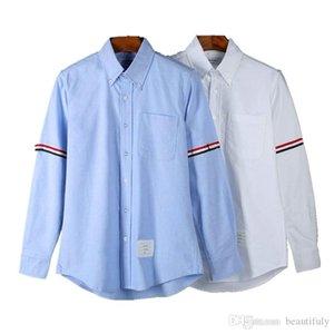 Mode LuxuxMens Designer thom Shirts Browne TB klassische Tri Farbband Langarmhemd THOM für Mann lässigen T-Shirt vetements