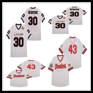 Hombre Las Vegas Outlaws 'Él me odia' # 30 White Jerseys XFL Fútbol barato Cleveland Buckeyes 43 Jersey Tamaño de alta calidad S-3XL
