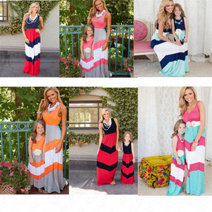 Verano vestido del chaleco sin mangas de los vestidos de la madre Hija equipo del padre-niño vestido rayado remiendo Maxi vestidos de falda larga D61703 VENTA
