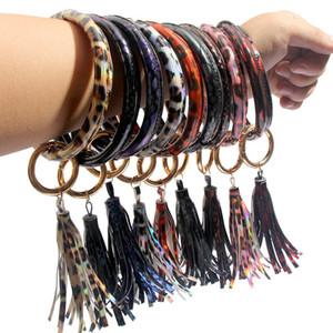 Wrap Glands Bracelets PU Porte-clés Leopard Tournesol Keychain floral goutte à goutte d'huile Wristband Bangle KeyChains Party Gift 2020 A101702
