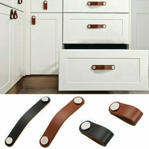 Vidalar Dresser Çekmece wadrobe Dolap Kapı Topuzlar Çekme Kolu Mobilya Aksesuar ile Kabine Sap Yumuşak El Yapımı PU Deri