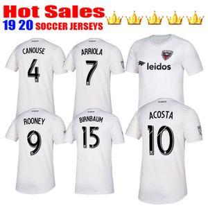 Nuevos 2019 2020 MLS DC United Jersey de fútbol camisa blanco ausente de fútbol uniformes ROONEY ARRIOLA ACOSTA CANOUSE de calidad superior de los jerseys de Washington