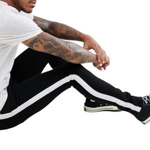 Siyah Çizgili Mens 19ss Jeans Erkek Giyim İlkbahar Sonbahar Slim Fit Sokak Jean pantolon