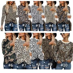 여성 T 셔츠 가을 스웨터 긴 소매 O 목 T 셔츠 패션 디자이너 운동복 캐주얼 블라우스 여자 겉옷 2020 탑 인쇄 표범