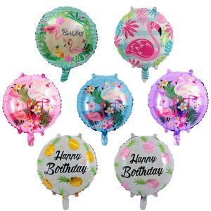 New 18-inch round pineapple flamingo aluminum balloon birthday wedding party decoration aluminum foil balloon toys wholesale