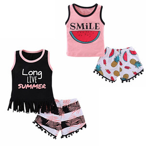INS Baby Kleidung Sets Long Live Sommer Gedruckt Quaste Weste Shorts 2 STÜCKE Set Sommer Sleeveless Kinder Outfits Baby Kleidung YW2109