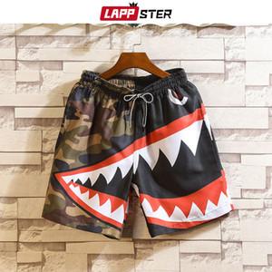 LAPPSTER Homens Verão Patchwork Shorts 2019 Mens Streetwear Hip Hop Shorts Casual Tubarão Poliéster Calções de Suor Coloridos Tamanho Grande SH190829