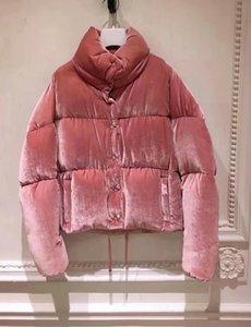 Специальное предложение 2020 Мода женщины вниз куртка розового велюр Ткань зима M Марка Стенд воротник платье женщины вниз пальто