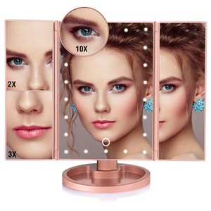 Makeup Mirror LED Touch Screen 22 Light Table Desktop Makeup 1X 2X 3X 10X Magnifying Mirrors Vanity 3 Folding Adjustable Mirror CX200630