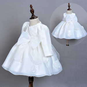 Bebek Prenses Vaftiz Beyaz Elbiseler Bebek Vaftiz Elbiseler için Düğün 0-2t J190619 için Bebek Giydirme + Cape + Hairband 3adet