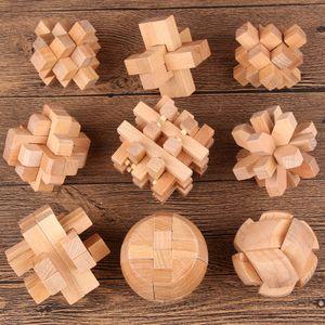 Juegos de rompecabezas al por mayor de madera Juguetes educativos tradicionales chinos para niños adultos Inteligencia Educación Puzzle Bloquear Niños Juguetes divertidos