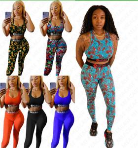 Frauen-Marke Badebekleidung Buchstabedruckes drücken top + Leggings BH Tank Hosen 2 Stück Bikini Set Sommerausstattung Strand schwimmen Anzug D7305