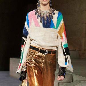Jastie Colorblock Chic Frauen Pullover gestrickt Winter-2019 Neue Maxi-Pullover Pullover Top blusa de frio feminina Jumper freies Verschiffen