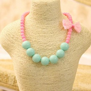 1PC New Fashion Jewelry Beads Necklace Little Girl Baby Kids Princess Bubblegum Necklace For Party Dress Up Birthday Gifts