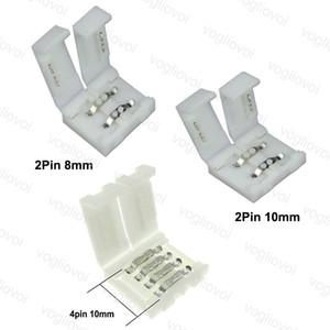 LED-Streifen Steckverbinder 8MM 2PIN 10mm 4PIN PCB Solderless Stecker-Adapter für SMD 5050 3528 RGB Einfarbige DHL